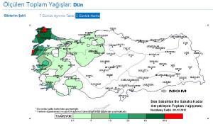 01 aralık toplam yağışlar