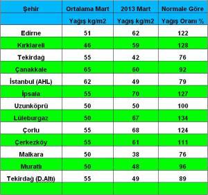 mart 2013 yağış ortalama yeni